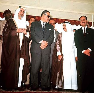 1967 Arab League summit - Left to right: Faisal of Saudi Arabia, Nasser of Egypt, Sallal of Yemen, Sabah of Kuwait and Arif of Iraq