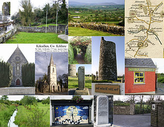 Kilcullen - Kilcullen images, inc. 1780s roadmap, The Valley Park and River Liffey, RC and CoI churches, features of and view from Old Kilcullen, gates to Castlemartin, and the Pitch and Putt Club