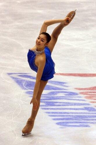 Figure skating spirals - Image: Kim 2009 Skate America FS Spiral