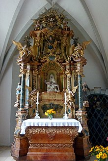 1742 Rococo Altar In Kirchheim Am Ries Germany Priest And People On The Same Side Of Even If Is At West End Church