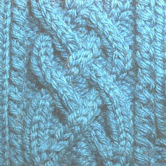 Knitted fabric - Illustration of cable knitting.  The central braid is formed from 2x2 ribbing in which the background is formed of purl stitches and the cables are each two wales of knit stitches.  By changing the order in which the stitches are knit, the wales can be made to cross.