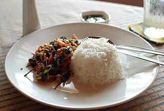 Jasmine rice - Steamed white jasmine rice with basil-fried minced pork