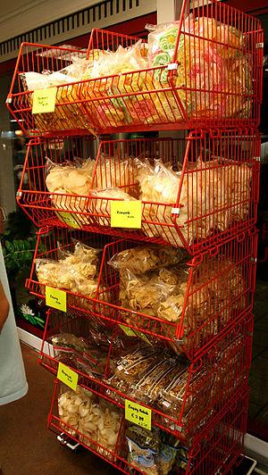 Prawn cracker - Assorted types of Kroepoek sold in Indo Toko in Amsterdam, Netherlands.