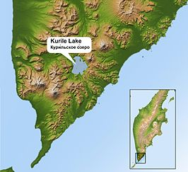 Kurile Lake shown on Southern Kamchatka peninsula map.jpg