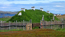 A Norse sod longhouse recreation at L'Anse aux Meadows