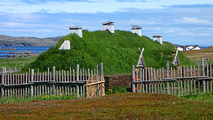 L'Anse aux Meadows - A Norse sod longhouse recreation at L'Anse aux Meadows