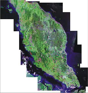 Peninsular Malaysia - Landsat false-colour mosaic of Peninsular Malaysia.
