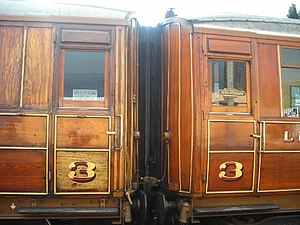 London and North Eastern Railway - Detail of LNER teak panelled coaches, preserved on the Severn Valley Railway