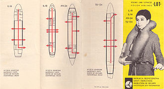 Aircraft safety card - A LOT Polish Airlines safety instruction card from 1968 for the Ilyushin Il-18, Ilyushin Il-14, Antonov An-24 and Tupolev Tu-134.