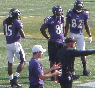 Anquan Boldin - Boldin (81) at Navy–Marine Corps Memorial Stadium in 2012. Also pictured are LaQuan Williams (15) and Torrey Smith (82).