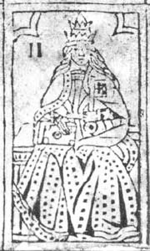 Pope Joan - An untitled popess on the Rosenwald Sheet of uncut Tarot woodcuts. Early 16th-century. Now in National Gallery in Washington, D.C.