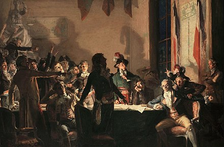 Saint-Just and Robespierre at the Hotel de Ville of Paris on the night of 9 to 10 Thermidor Year II (27 to 28 July 1794). Painting by Jean-Joseph Weerts La nuit du 9 au 10 thermidor an II.jpg