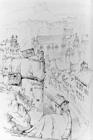 Willielma Campbell - Lady Glenorchy's Chapel, Edinburgh. A sketch by John Ruskin.
