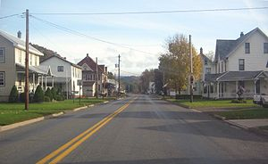 Pennsylvania Route 118 - PA 118 as a two-lane road through the village of Lairdsville