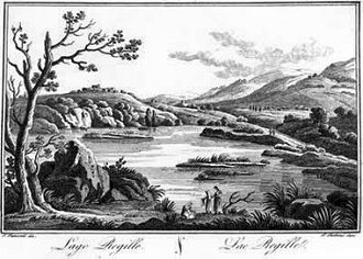 Battle of Lake Regillus - An engraving of Lake Regillus, where the battle took place.