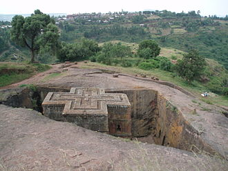 Horn of Africa - The Lalibela churches carved by the Zagwe dynasty in the 12th century.