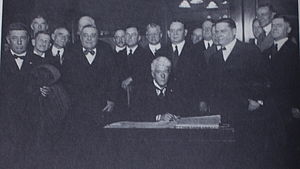 Black Sox Scandal - Judge Kenesaw Mountain Landis signs the agreement to become Commissioner of Baseball, 12 November 1920