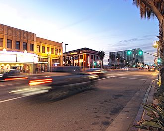 """Lankershim Boulevard - Looking north-west along Lankershim Boulevard in the """"NoHo Arts District"""" of North Hollywood."""