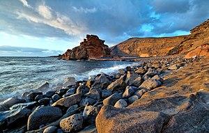 Français : Plage d'El Golfo Lanzarote îles Can...