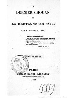 Svart og hvitt omslag på en bok uten illustrasjon som er skrevet: Den siste chouan eller Bretagne i 1800, av Honoré de Balzac.
