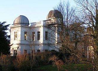 Leiden Observatory - The second building to house the Leiden Observatory (built in 1860). This building now houses part of the law faculty. Two of the optical telescope domes can be seen on the roof.