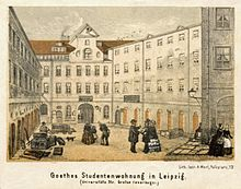 """Hof der """"Großen Feuerkugel"""" – Goethes Studentenwohnung in Leipzig (Quelle: Wikimedia)"""
