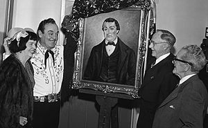José Antonio Carrillo - Leo Carrillo unveils portrait of his great-uncle José Antonio Carrillo, 1955