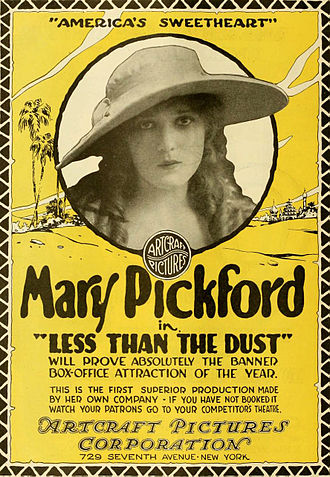 Movie star - Poster advertising a 1916 film with Mary Pickford, one of the first movie stars