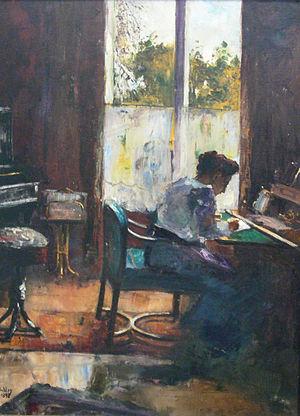 Lesser Ury - Image: Lesser Ury Frau am Schreibtisch 1898