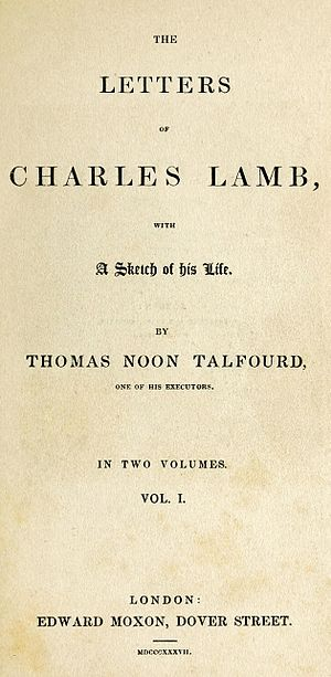 Letters of Charles Lamb - Title page to the 1837 Talfourd edition of Lamb's letters