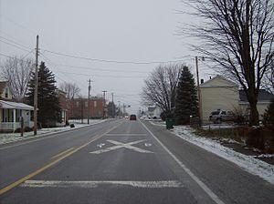 Oakford, Indiana - Approaching the railroad crossing in Oakford