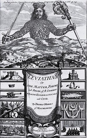 Sovereignty - The frontispiece of Thomas Hobbes' Leviathan, depicting the Sovereign as a massive body wielding a sword and crosier and composed of many individual people