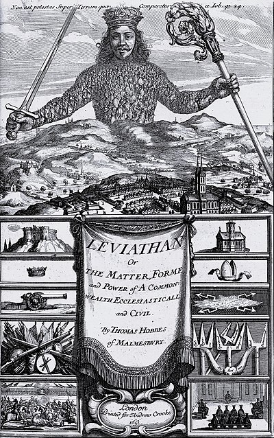 The original cover of Thomas Hobbes's work Leviathan (1651), in which he discusses the concept of the social contract theory Leviathan by Thomas Hobbes.jpg