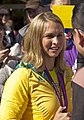 Libby Trickett being interviewed by the media at the Welcome Home parade in Sydney.jpg