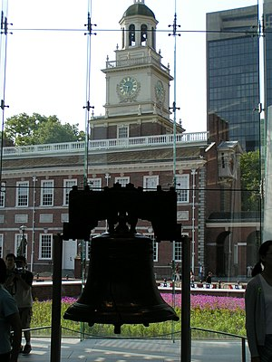 The Liberty Bell hangs in the Liberty Bell Cen...
