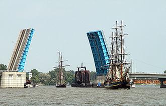Liberty Bridge (Bay City, Michigan) - Liberty Bridge opened for tall ships in 2010