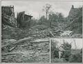 Lighne de chemin de fer allemande trversant un village - Locomotive allemande detruite par les obus fraincais.png