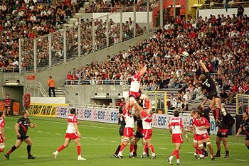Line out. Picture from the rugby game Stade to...