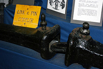 Railway coupling - A link-and-pin coupler