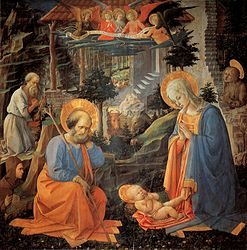 Filippo Lippi: Adoration of the Child with SS. Joseph, Jerome, Hilarion, Magdalena and angels