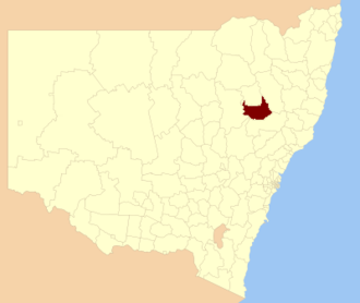 Liverpool Plains Shire - Location in New South Wales