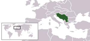 Creation of Yugoslavia - Location of the Kingdom of Yugoslavia in Europe.