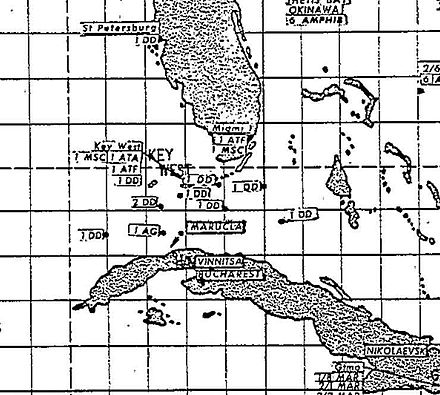 A declassified map used by the US Navy's Atlantic Fleet showing the position of American and Soviet ships at the height of the crisis. Location of Navy and Soviet ships during the Cuban Missile Crisis.jpg