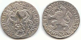 "Romanian leu - Dutch Thaler, depicting a lion, the origin of the Romanian ""Leu"""