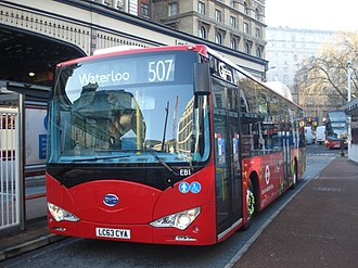 Battery electric bus - BYD electric bus in London