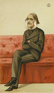 Caricature of Lord Sandhurst sat with crossed arms and legs