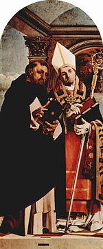 Thomas d Aquin et le pape Urbain IV, de Lorenzo Lotto, 1508, huile sur bois, 155 x 67cm, Recanati, Musée municipal.
