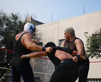 Atlantis (wrestler) - Atlantis and Shocker trying to throw the referee out of the ring during an event sponsored by Fundación Expresa in Mexico City