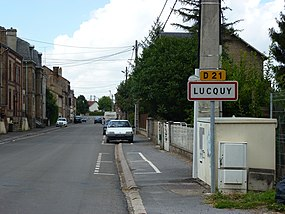 Lucquy (Ardennes) city limit sign.JPG