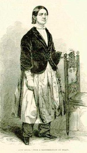 Lucy Stone - An engraving of Lucy Stone wearing bloomers was published in 1853.